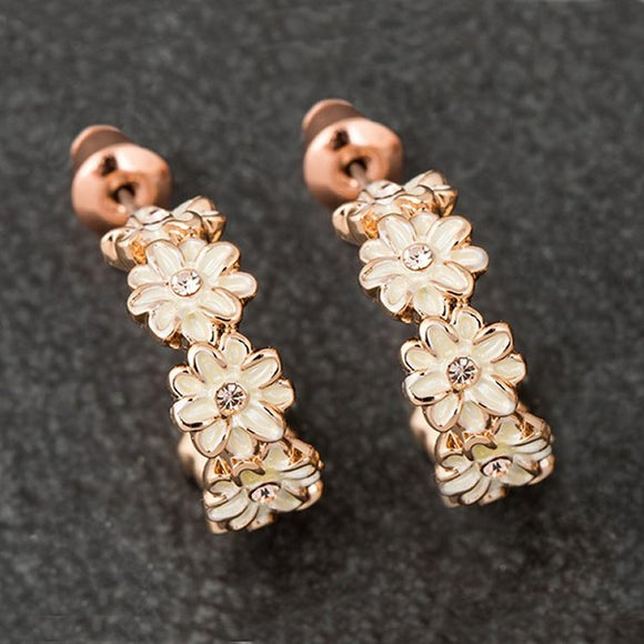 Dainty Daisy Half Moon Rose Gold Plated Earrings by Equilibrium - Charming And Trendy Ltd