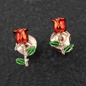 Single Red Rose Rose Gold Plated Earrings by Equilibrium - Charming And Trendy Ltd