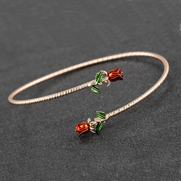 Red Roses Crossing Rose Gold Plated Bangle by Equilibrium - Charming And Trendy Ltd