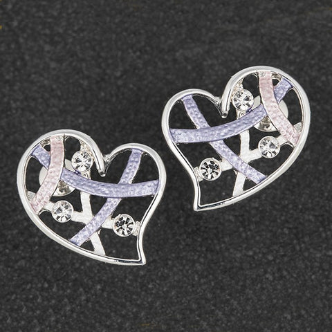 Hazy Tones Silver Plated Heart Earrings by Equilibrium - Charming And Trendy Ltd