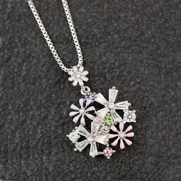 Hand Painted Flower Bouquet Platinum Plated Necklace by Equilibrium - Charming And Trendy Ltd