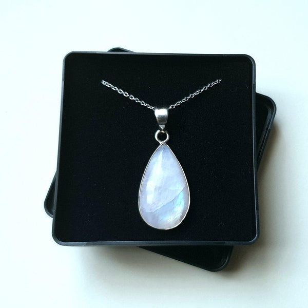 "Moonstone Sterling Silver Pendant with 16"" Chain - Gift Box - Charming And Trendy Ltd"