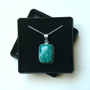 "Amazonite Sterling Silver Pendant with 18"" Chain - Gift Box - Charming And Trendy Ltd"