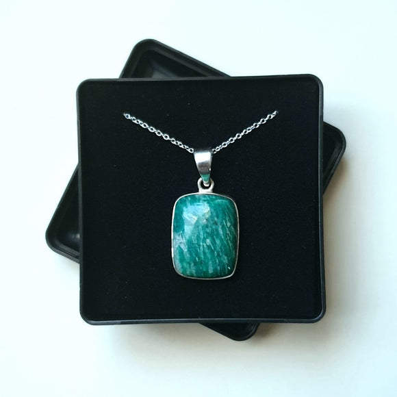 Amazonite Sterling Silver Pendant with 18