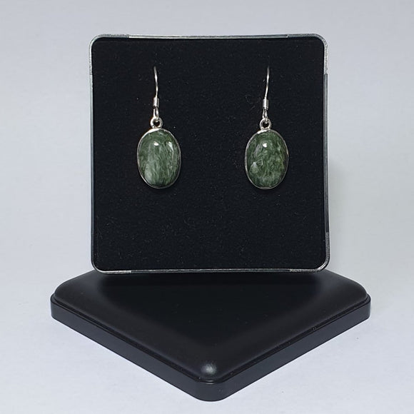 Seraphinite Sterling Silver Drop Earrings - Charming And Trendy Ltd