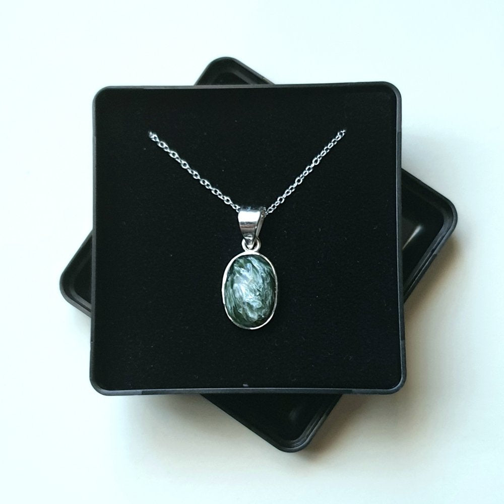 "Seraphinite Sterling Silver Pendant with 18"" Chain - Gift Box - Charming And Trendy Ltd"