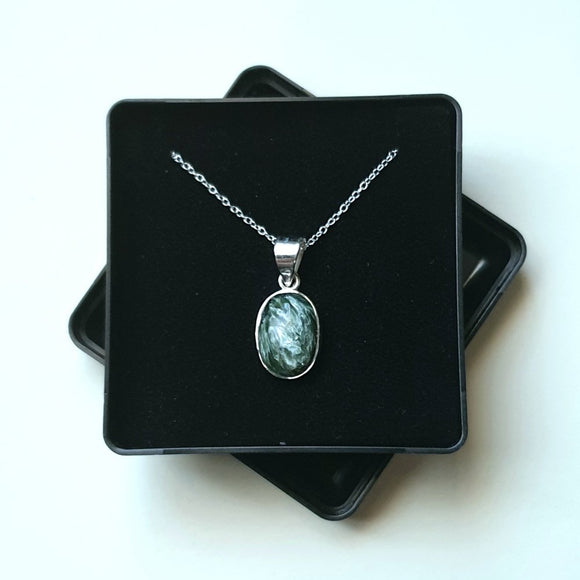 Seraphinite Sterling Silver Pendant with 18