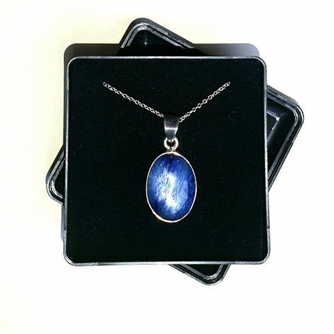 "Kyanite Sterling Silver Pendant with 18"" Chain - Gift Box - Charming And Trendy Ltd"