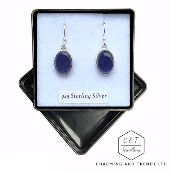 Iolite Sterling Silver Drop Earrings - Charming And Trendy Ltd