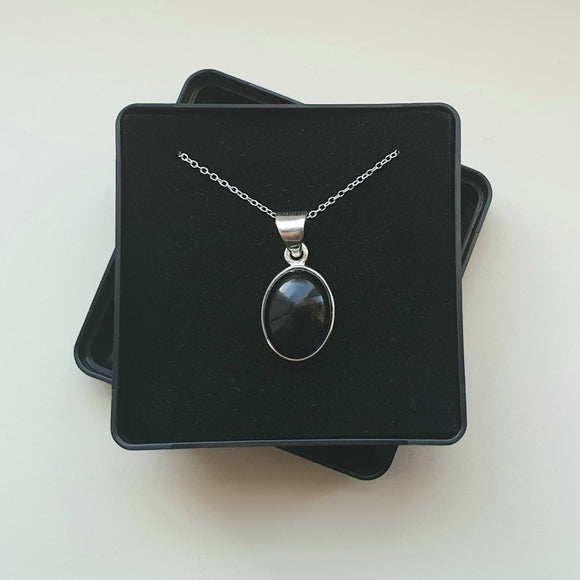 Iolite Sterling Silver Pendant with 16