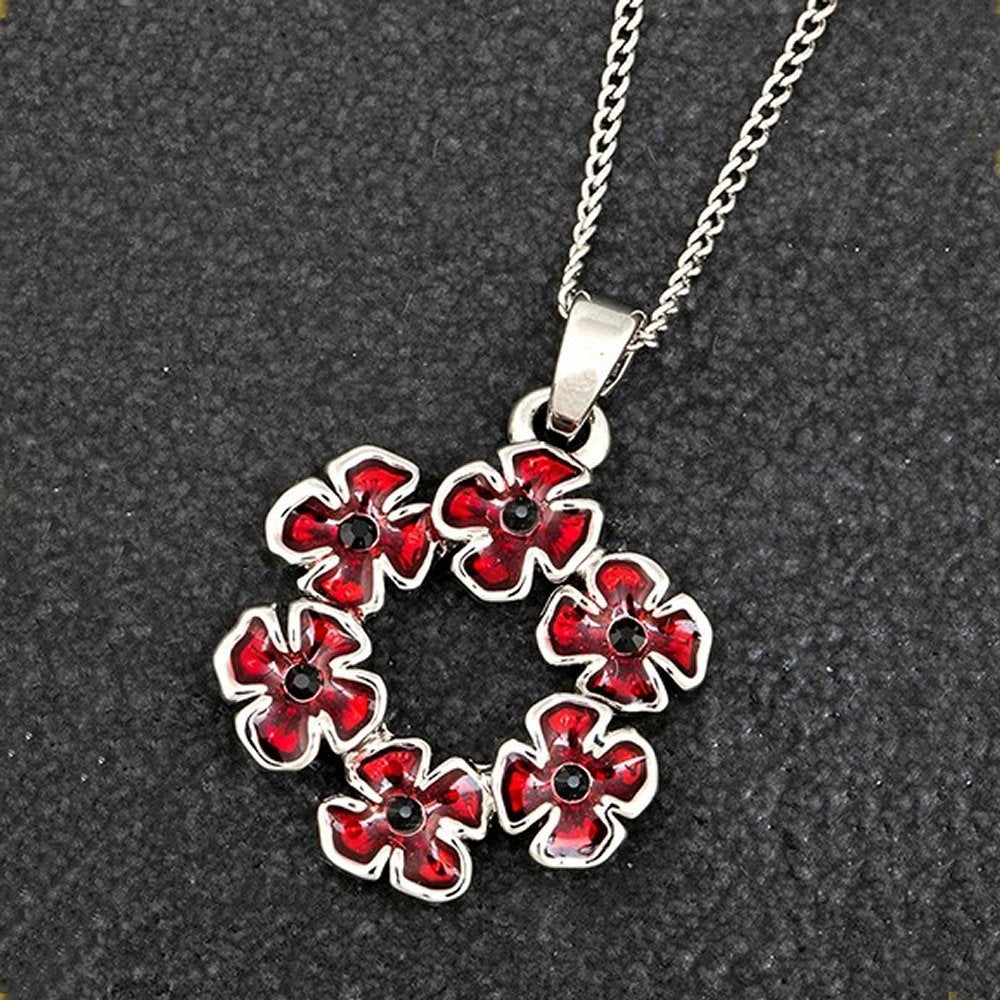 Circle of Poppy Silver Plated Necklace with Gift Box by Equilibrium - Charming And Trendy Ltd