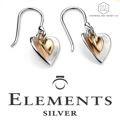 925 Sterling Silver Gold Plated Heart Drop Earrings by Elements Silver (Boxed) - Charming And Trendy Ltd