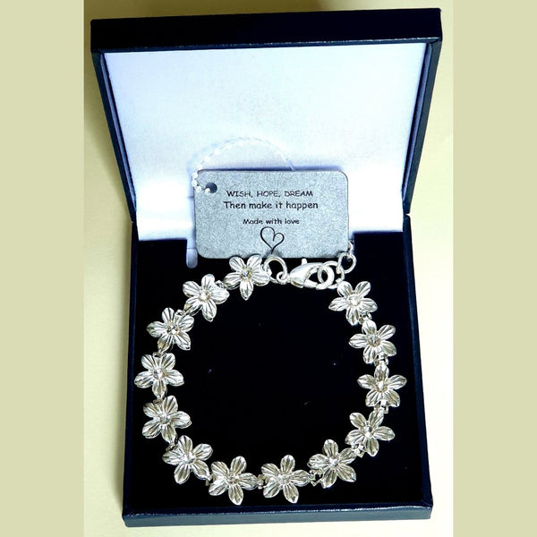 Sparkle Floral Silver Plated Bracelet - Gift Bag/Box - Charming And Trendy Ltd