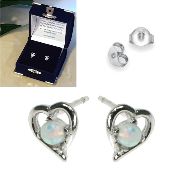 Opal Snow Sterling Silver Heart Stud Earrings - Gift Boxed - Charming And Trendy Ltd