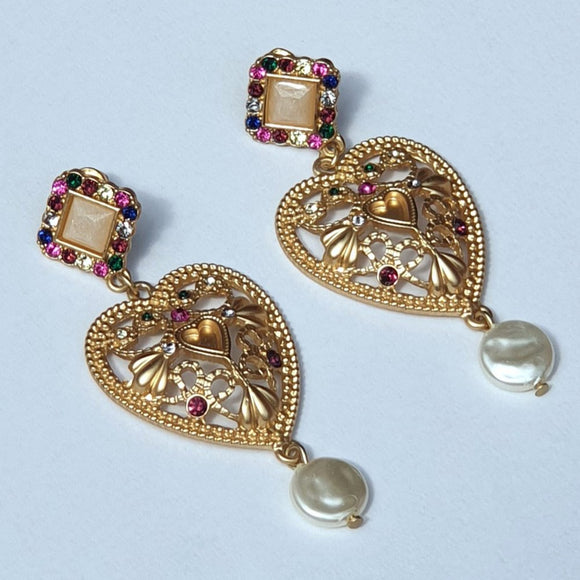 Gold Tone Heart Drop Earrings Embellished with Crystals and Pearls - Charming And Trendy Ltd