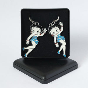 Betty Boop Blue Enamelled Metallic Earrings - Gift Boxed - Charming And Trendy Ltd