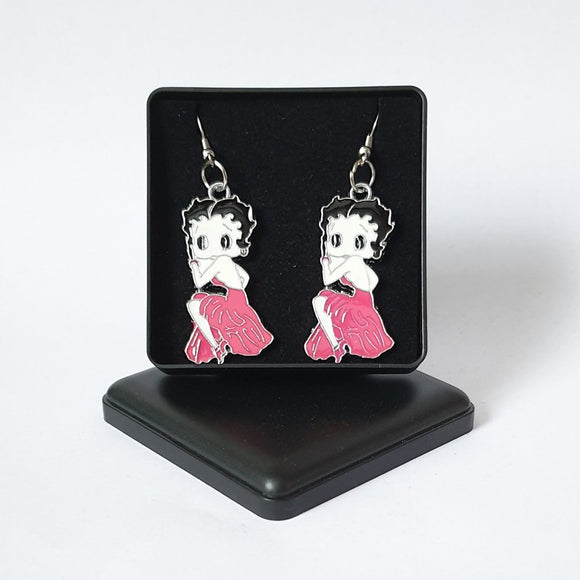 Betty Boop Pink Enamelled Metallic Earrings - Gift Boxed - Charming And Trendy Ltd
