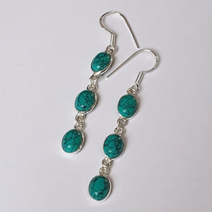 Natural Turquoise Sterling Silver Drop Earrings - Charming And Trendy Ltd