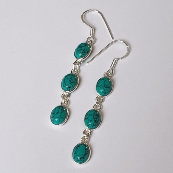 Natural Turquoise Sterling Silver Drop Earrings - CT0373