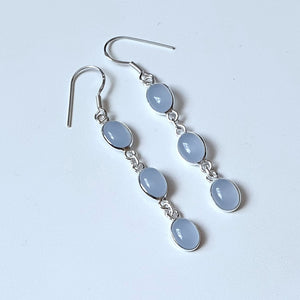 Aqua Blue Calcy Sterling Silver Drop Earrings - Charming And Trendy Ltd