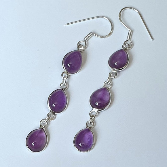 Amethyst Sterling Silver Drop Earrings - Charming And Trendy Ltd