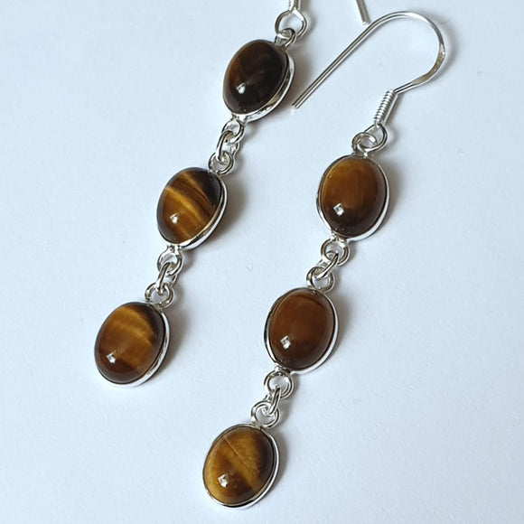 Tiger Eye Sterling Silver Drop Earrings - Charming And Trendy Ltd