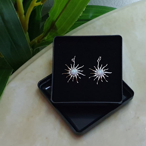 925 Sterling Silver Opal Snow Sun Drop Earrings - Gift Boxed - Charming And Trendy Ltd