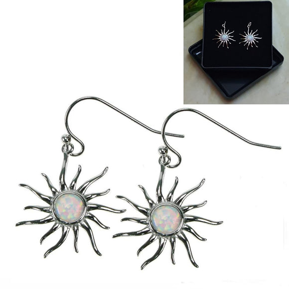 Opal Snow Sun Sterling Silver Drop Earrings - Gift Boxed - Charming And Trendy Ltd
