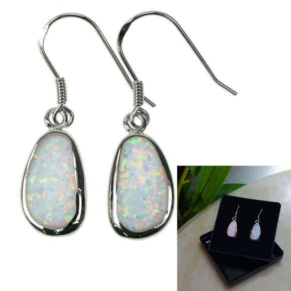 925 Sterling Silver Opal Snow Free Form Earrings - Gift Boxed - Charming And Trendy Ltd