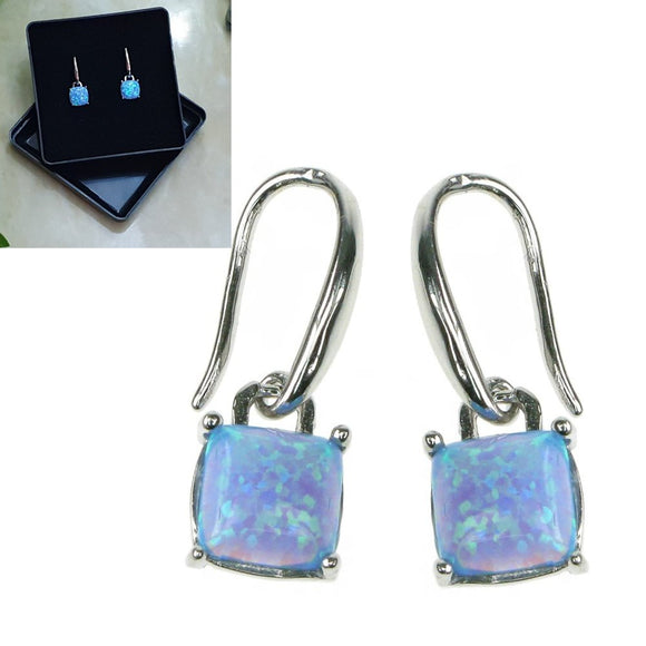 Opal Sky Sterling Silver Square Earrings - Gift Boxed - Charming And Trendy Ltd