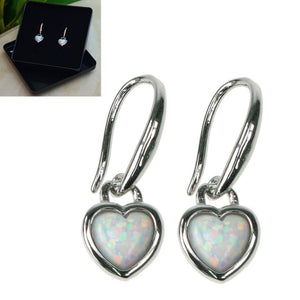 Opal Snow Sterling Silver Heart Earrings - Gift Boxed - Charming And Trendy Ltd