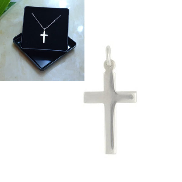 925 Solid Sterling Silver Cross Pendant 18x10mm and Chain - Gift Boxed - Charming And Trendy Ltd