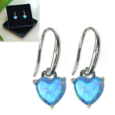 925 Sterling Silver Opal Sky Heart Earrings - Gift Boxed - Charming And Trendy Ltd