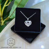 "Dancing Stone Sterling Silver Heart Pendant 16"",18"",20"",22"" & 24"" - Gift Boxed - Charming And Trendy Ltd"