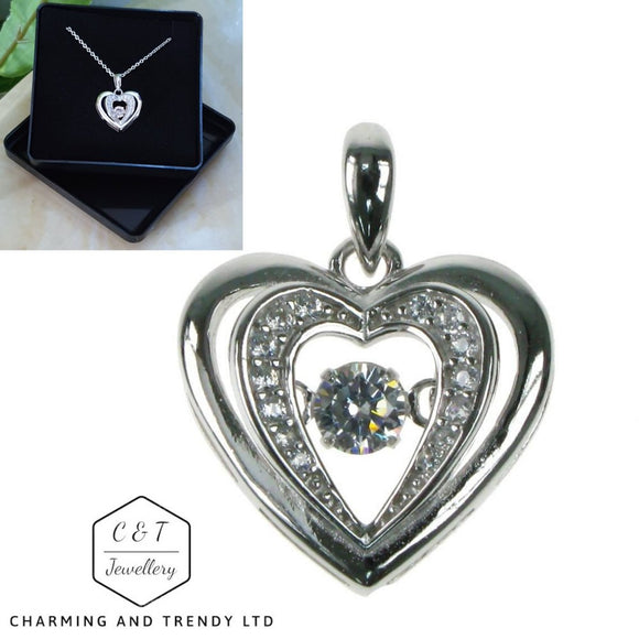 Dancing Stone Sterling Silver Heart Pendant 16