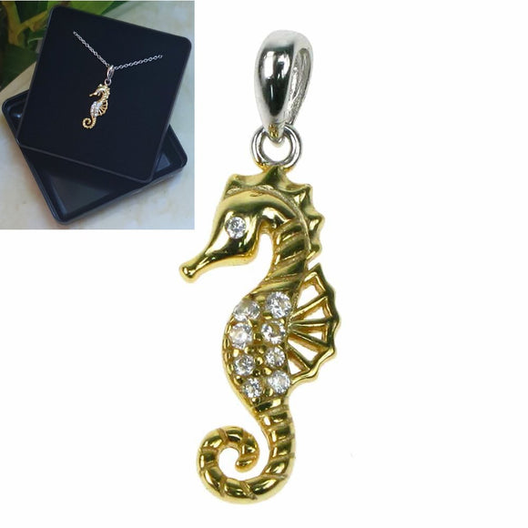 Seahorse 18k Gold Plated and Cubic Zirconia Sterling Silver Pendant - CT0438