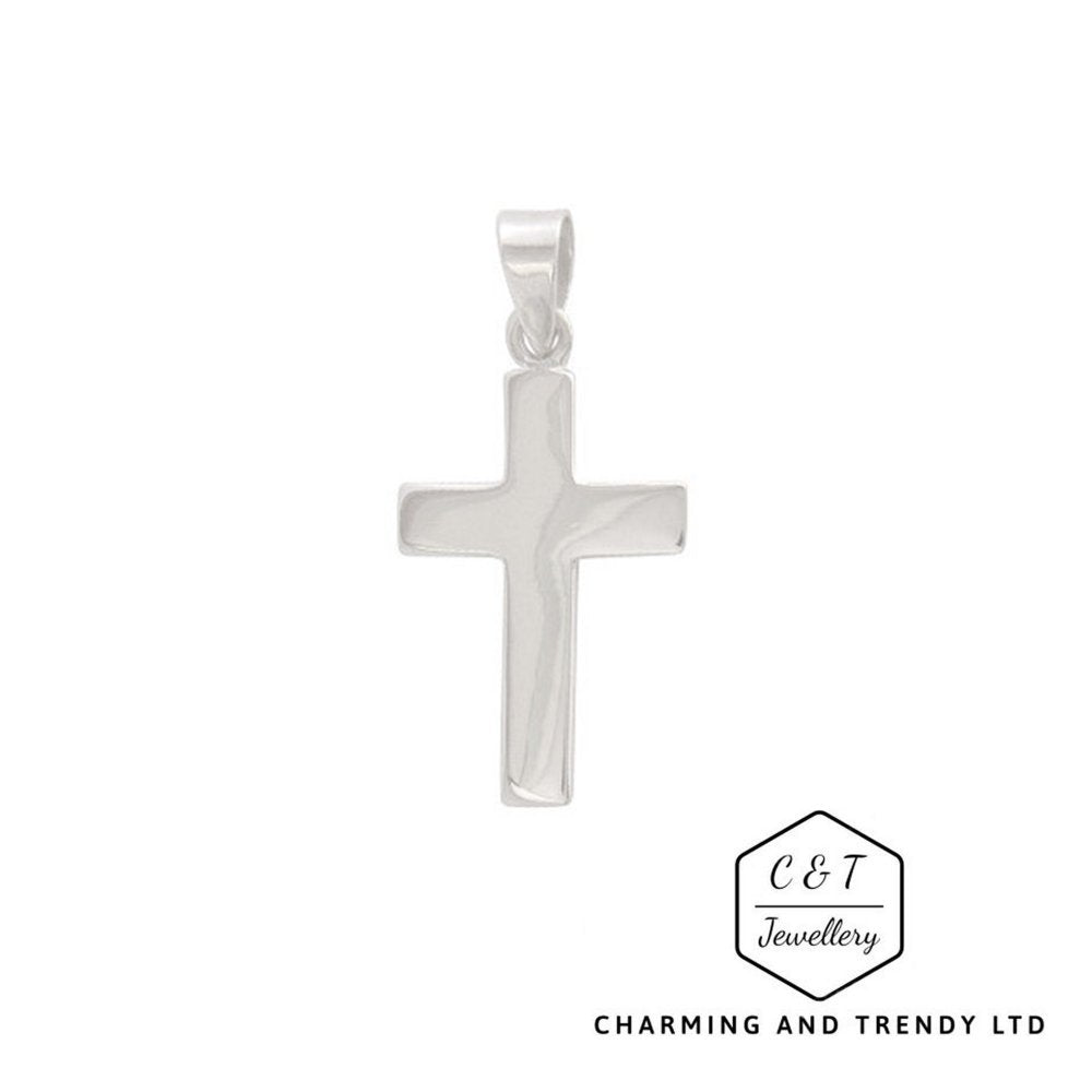925 Solid Sterling Silver Cross Pendant 25x15mm and Chain - Gift Boxed - Charming And Trendy Ltd