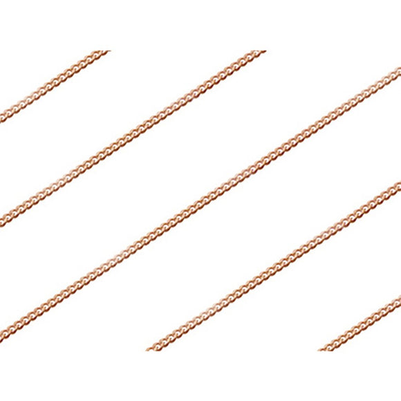 1.25mm Sterling Silver Rose Gold Plated Cub Chain - 16