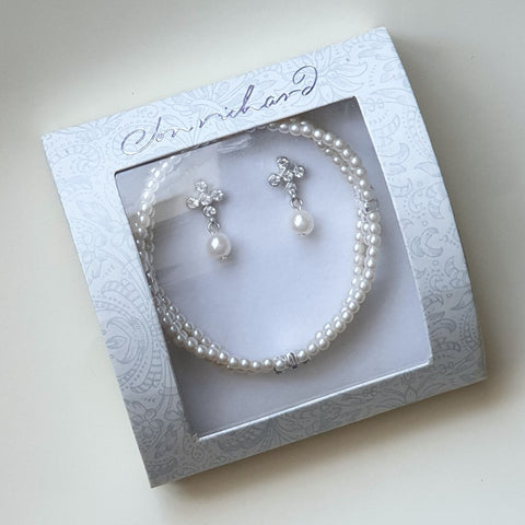 Vintage Style Mini Pearl Stretch Bracelet & Earring Set - Boxed - Charming And Trendy Ltd