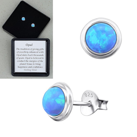 925 Sterling Silver Round Azure Blue Opal Ear Studs - Gift Boxed - Charming And Trendy Ltd
