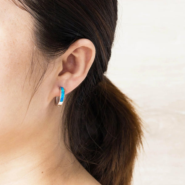 Blue Opal Hoop Earrings by Philip Jones - RRP £15.99 - Charming And Trendy Ltd