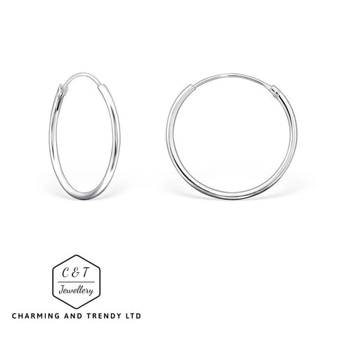 Solid 925 Sterling Silver 10mm - 20mm Hoop Sleeper Earrings (Pairs) - Charming And Trendy Ltd