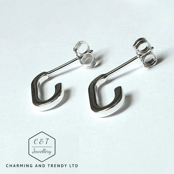 925 Sterling Silver Heritage Rectangle Hoop Earrings - Charming And Trendy Ltd