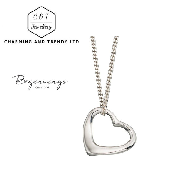 925 Sterling Silver Slip-On Heart Pendant Necklace  (41cm/16 inch) - Charming And Trendy Ltd