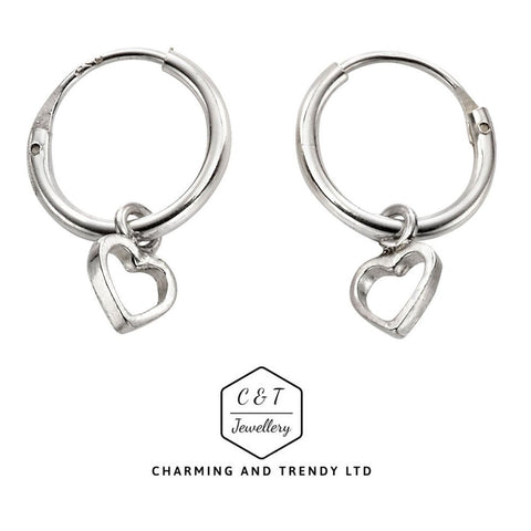 925 Sterling Silver 10mm Heart Design Hoop Sleeper Earrings (Pair) - Charming And Trendy Ltd