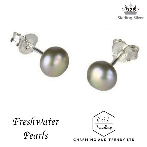 925 Sterling Silver Grey/Silver Freshwater Pearl Stud Earrings (6mm) - Charming And Trendy Ltd