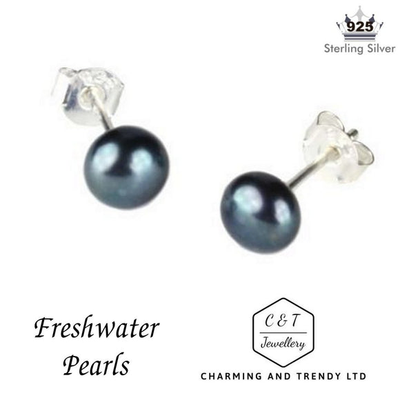 925 Sterling Silver Peacock Freshwater Pearl Stud Earrings (6mm) - Charming And Trendy Ltd