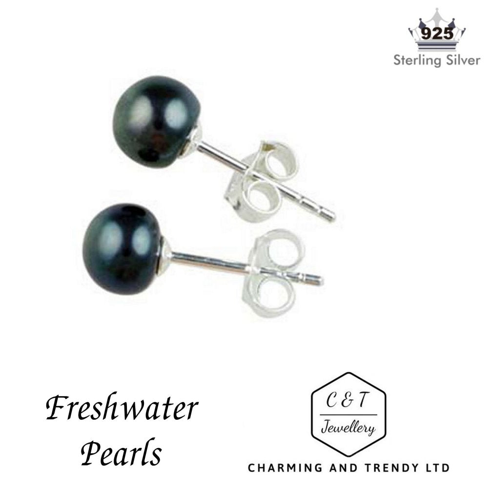 925 Sterling Silver Black Freshwater Pearl Stud Earrings (6mm) - Charming And Trendy Ltd