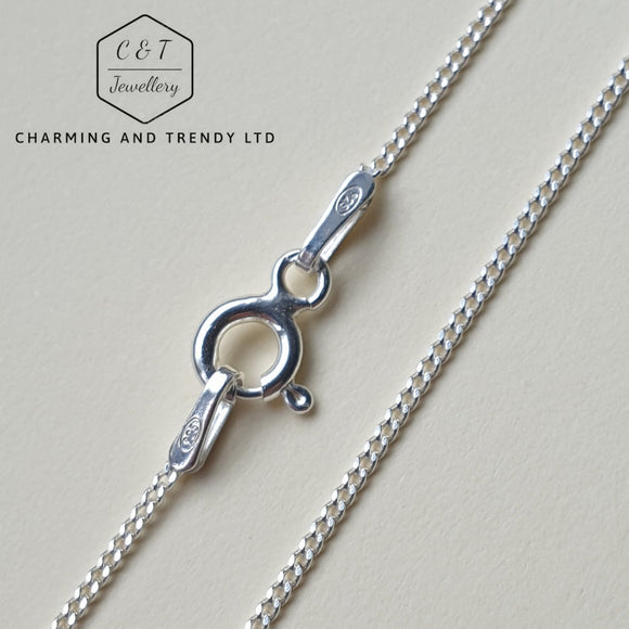 925 Sterling Silver Diamond Cut Curb Chain Necklaces (Various Sizes) - Charming And Trendy Ltd