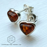 925 Sterling Silver & Baltic Amber Heart Stud Earrings - Gift Boxed - Charming And Trendy Ltd